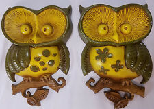 1970's Vintage Pair of Sexton Owls Wall Hanging Plaque Metal Green and Yellow