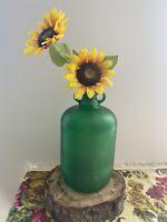 """12"""" Large Antique Green Glass Bottle Jar W 2 Handles for Vase Home Kitchen Decor"""