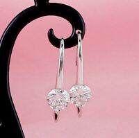 4Ct Round Attractive Cut Moissanite Drop/Dangle Earrings 14K White Gold Finish
