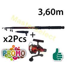 Lot de 2 x canne à pêche 3,60m et 2 x moulinet avec fil inclus