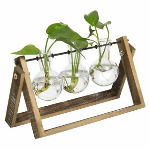 MyGift 3 Glass Planter Bulb Vases with Wood and Metal Swivel Plant Stand Rack
