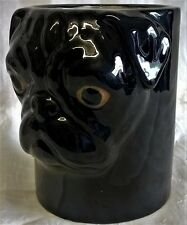 QUAIL CERAMIC FAWN PUG DOG DESK TIDY, PENCIL, PEN, BRUSH POT OR CYLINDER VASE