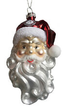 Alabama Crimson Tide Glass Santa Head Christmas Ornament