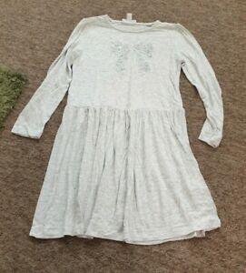Little White Company grey sequin bow long sleeve dress age 5-6 years
