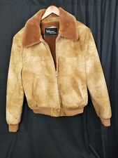 Heavy Wilson Leather Suede Shearling Lined Men's Bomber Jacket Size 48 Warm Coat