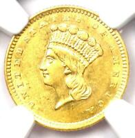 1856 Indian Gold Dollar (G$1 Coin) - Certified NGC AU Detail - Rare Coin!