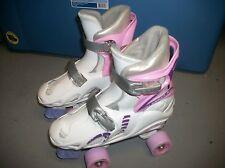 Chicago Girls Quad Roller Skates White/ Pink Adjustable Junior Youth Sz 1 2 3 4