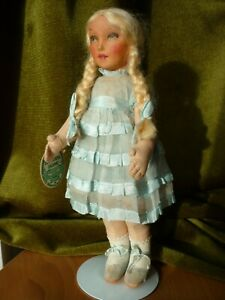 """Beautiful Antique/ Vintage Deans cloth doll """"Elsie"""" with tag all original"""