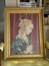 Vintage Needle Point La Madonna Virgin Mary Praying w/ Golden Frame