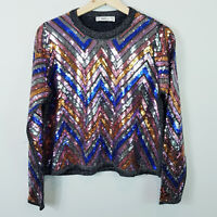 ZARA | Womens Coloured Sequinned Sweater Top Jumper  [ Size M or AU 12 / US 8  ]