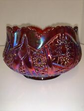 Vtg. Heirloom Sunset Series Ruby Red Iridescent Carnival Sawtooth Ruffled Bowl
