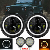 """4inch Round + PAIR 7"""" LED BLACK HALO HEADLIGHTS E MARKED FOR LAND ROVER DEFENDER"""