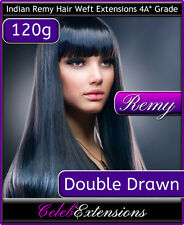 """♚♚♚♚♚♚ DOUBLE DRAWN 120g Remy Indian Human Hair WEFT Extensions Remi 18"""" 20"""" 22"""""""