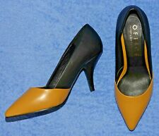 Office Mustard & Black Leather Pointed Toe Kitten Heel Court Shoes - Size 36
