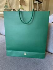 Authentic Rolex Crown Gift Shopping Bag Green Paper Large, Mint Condition