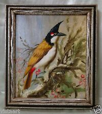 "Oil Painting on Canvas ""Lovely Bird"" w/ Silver & Green Vintage Wood Frame 14x16"""