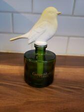 "Vintage Green Glass Perfume Decanter Ceramic Bird Stopper. 7"" Tall"