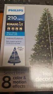 Philips 8 function 210 ct Christmas Warm White LED Tree String Lights NIB!