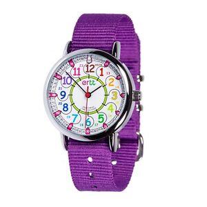 EasyRead Time Teacher Rainbow Face 24 Hour Watch - Purple Strap (ERW-COL-24-PU)