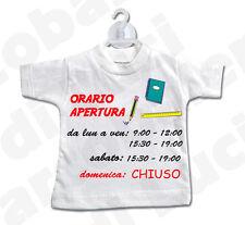 MINI T-SHIRT cartello ORARIO APERTURA CHIUSURA negozio cartoleria PERSONALIZZATO