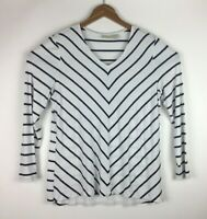 Chicos Women's Size 2 Blouse Top Pull Over Long Sleeve White Black Striped.