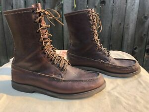 """11D WC Russel Moccasin Vintage Shoe Boot Brown Leather 9.5"""" Lace Up Hunting"""