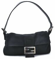 Authentic FENDI Shoulder Hand Bag Canvas Leather Black B7322