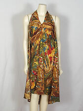 SOFT SURROUNDINGS hippie pull over dress multi-colored halter dress size Small
