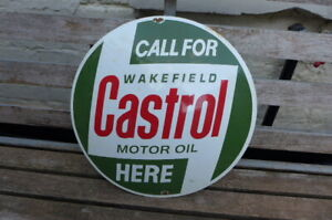 Vintage Enamel Castrol Wakefield Motor Metal Sign Painted Wall Decor D-48.5 cm