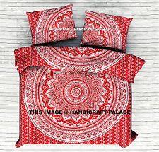 Silver Red King Size Duvet Cover Ombre Mandala Comforter Doona Set Indian Quilt