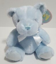 "First Main Baby Teddy Bear Rattle Pastel Pal Blue 6"" Plush Stuffed Toy NEW"