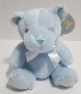 "First Main Baby Teddy Bear Rattle Pastel Pal Blue 6"" Plush Stuffed Toy NEW"
