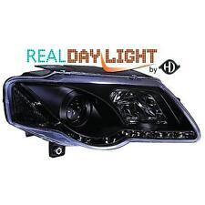 Coppia fari fanali anteriori TUNING VW PASSAT 3C 05- neri Dayline DRL LED diurni