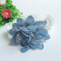Exquisite Baby Girl Flower Shape Headband Infant Elastic Jean Cloth Dot Hairband