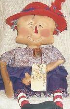 Pattern Primitive Raggedy Ann Doll w/ Red Hat Uncut Oop Heart n Hand