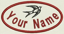 "2 Oval patches - Name Tag, Biker Patch, badge 4.5"" x 2.5"" Iron On or Sew On"