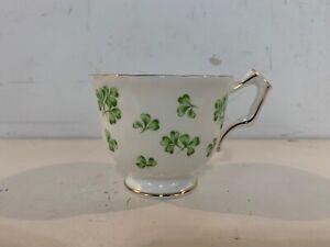 Vintage Aynsley English Porcelain Cup & Saucer Green Shamrock Clover Decorations
