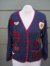 Mandal Bay Sweater Sz L Button Cardigan Apple for the Teacher Blue Embellished