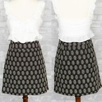 Ann Taylor LOFT Women's Embroidered Dot Skirt Size 4 Career Black Office Pencil