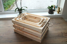 Vintage Style Wooden Crate Display Farm Shop Style With Rope Handles