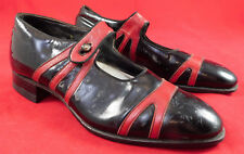 Vintage Unworn Red & Black Patent Leather Button Strap Mary Jane Shoes in Box