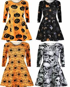 Womens Long Sleeve Halloween Party Swing Dress Ladies Skull Print Flared Dress