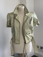 Miss Sixty Distressed Leather Jacket With Short Sleeve , Size S