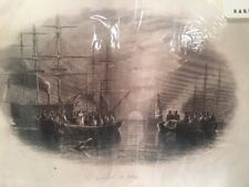 Antique Print English Burial At Sea London, James S. Virtue. Sunset -A2-