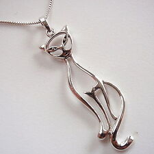 Sitting Contented Cut Out Cat Necklace 925 Sterling Silver Corona Sun Jewelry