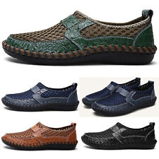 Men's Driving Slip on Loafers Flats Leather Mesh Breathable Casual Boat Shoes