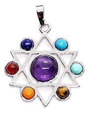 Chakra Argent Kabbale Étoile de David Pendentif Couleur Argent Pendentif