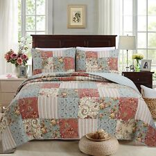 Eleanor Patchwork Reversible Cotton Quilt Set, Bedspread, Coverlet