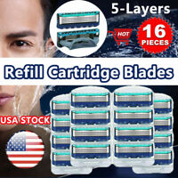 16Pcs 4Pack 5-Layer Men' Shaving Blades For Gillette Fusion ProGlide Power Razor