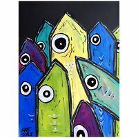 Matt Scalf Fish Sardines Abstract ORIGINAL PAINTING 9x12 Modern Beach Ocean Art